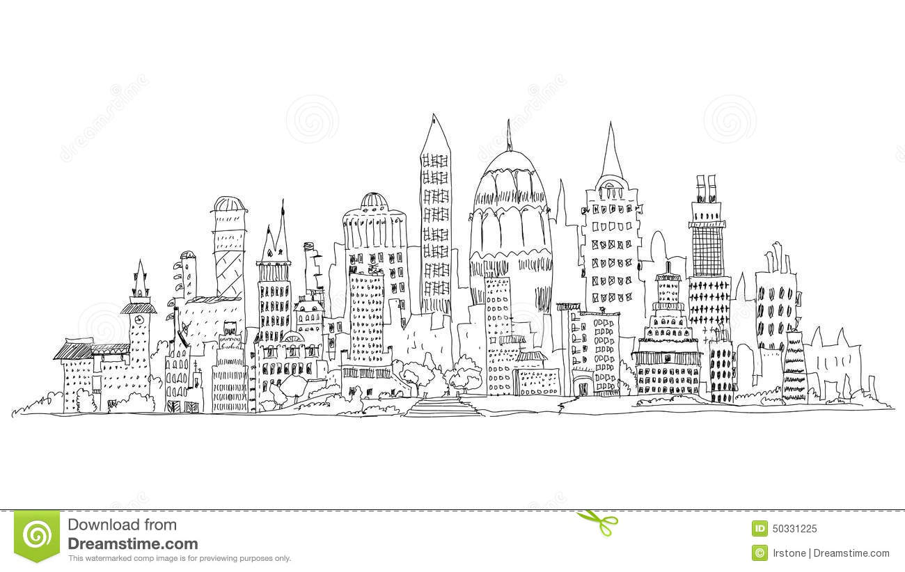 modern city business aria sketch collection illustration