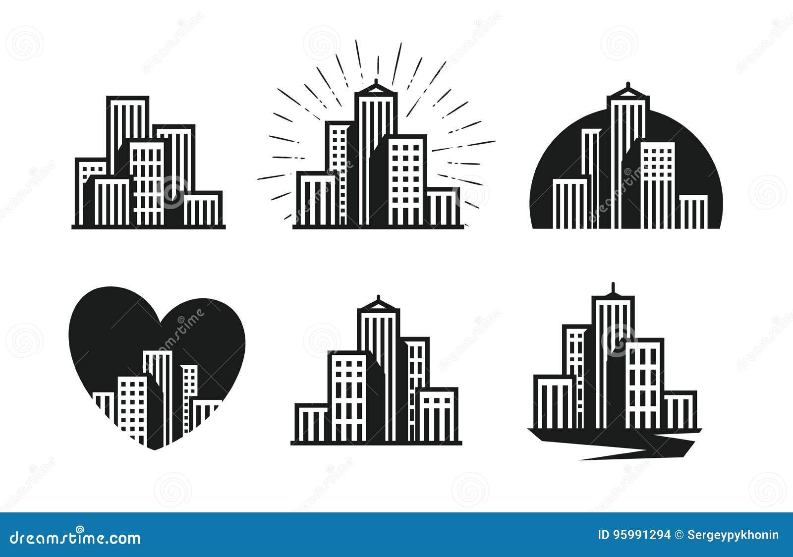 Modern City Logo  Skyscraper, Building, House, Town Set Of