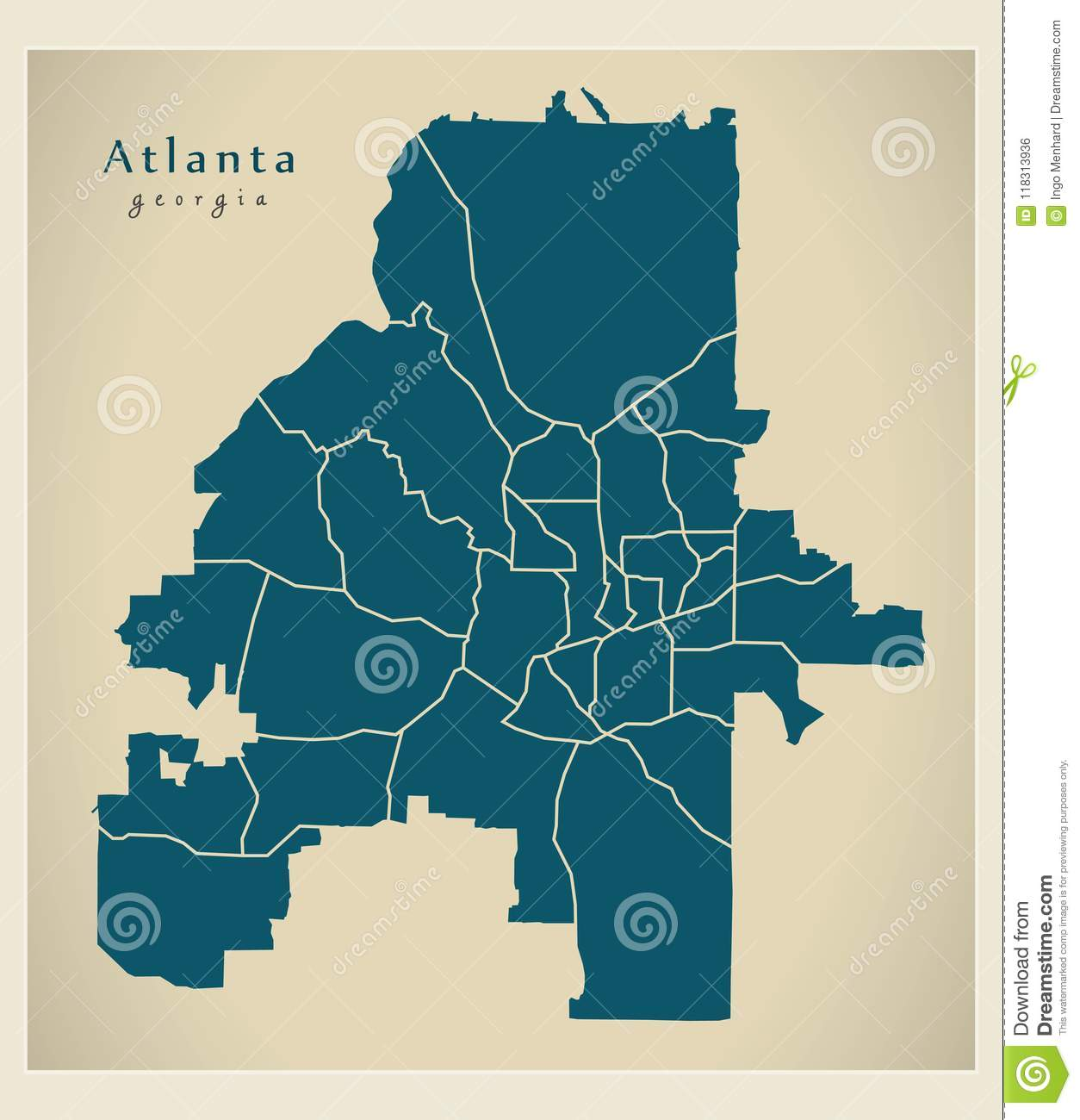 Modern City Map Atlanta Georgia City Of The Usa With Neighborhoods