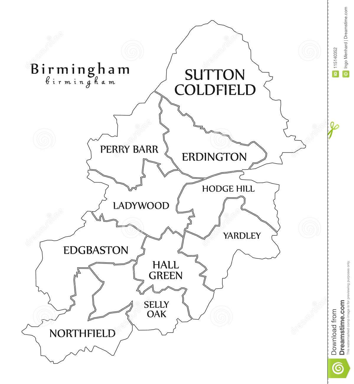 City Map Of Uk.Modern City Map Birmingham City Of England With Boroughs And T