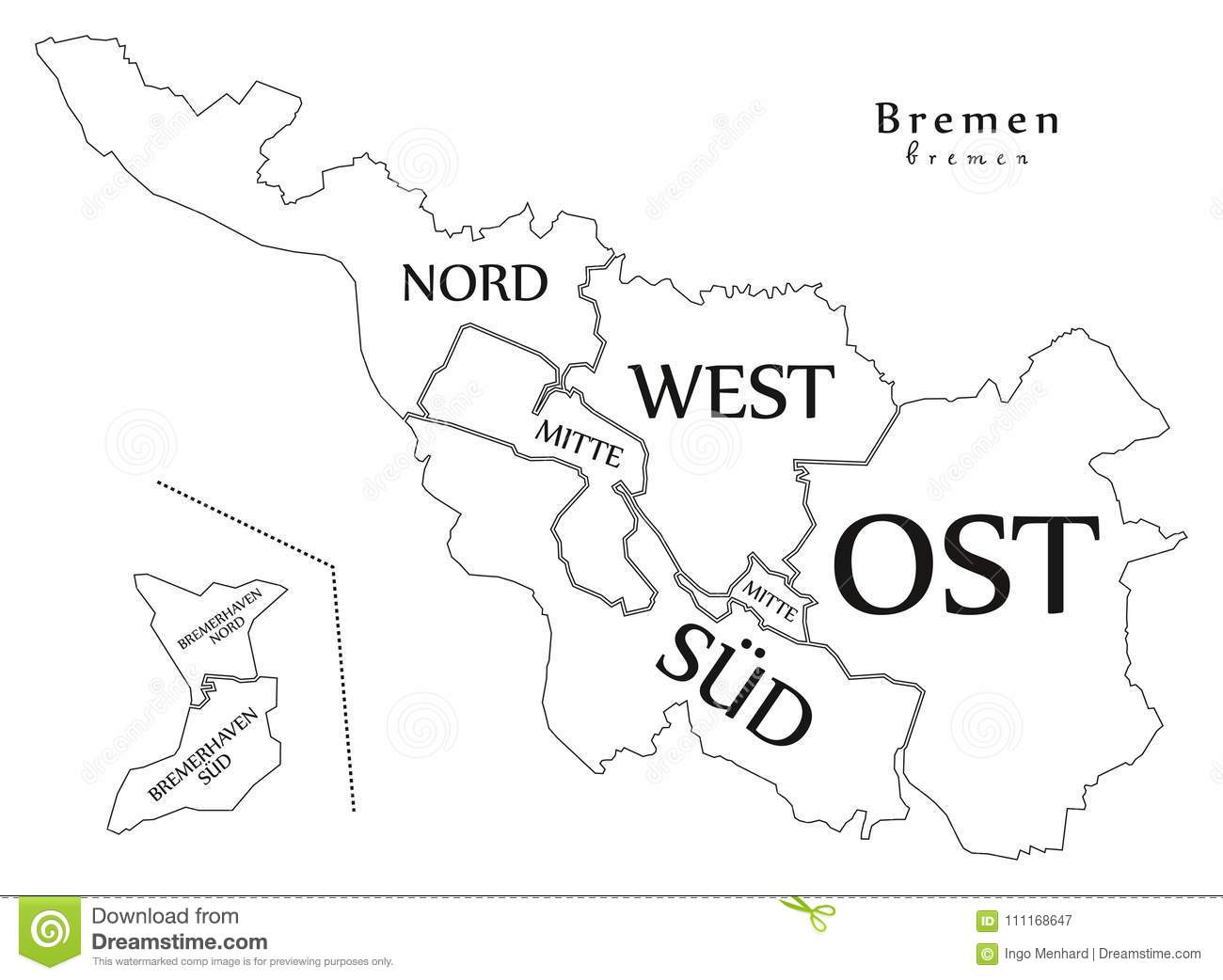 Outline Map Of Germany.Modern City Map Bremen City Of Germany With Boroughs And Title
