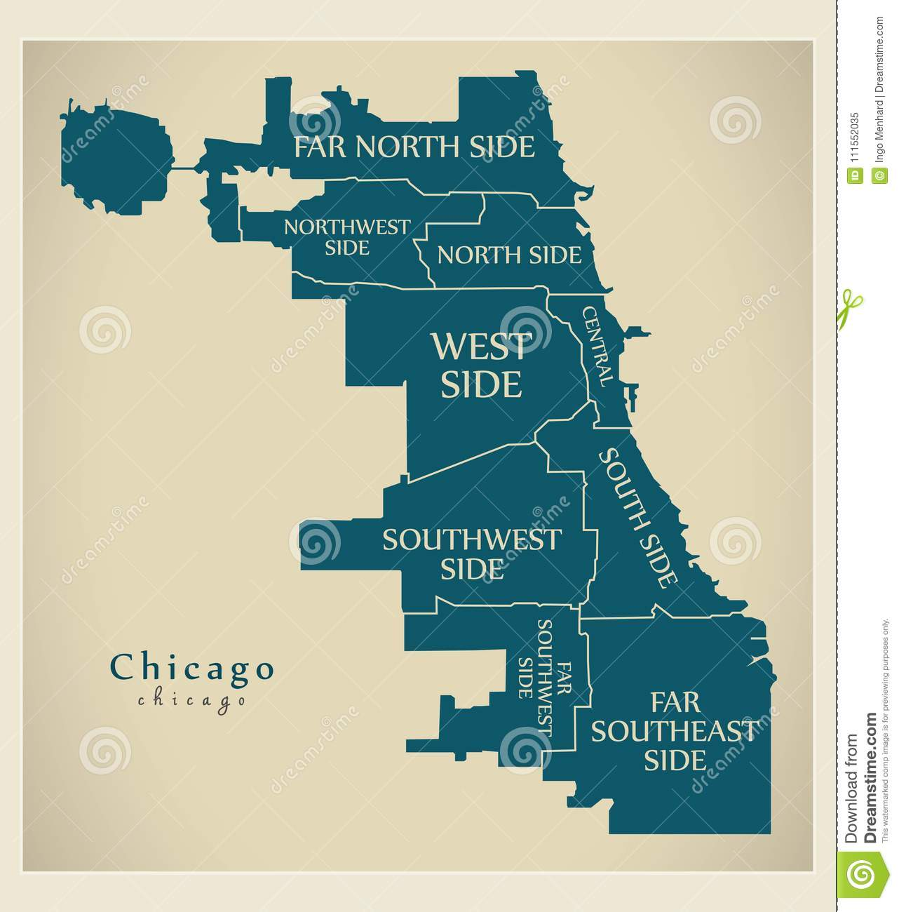 Chicago Boroughs Map Modern City Map   Chicago City Of The USA With Boroughs And Titles