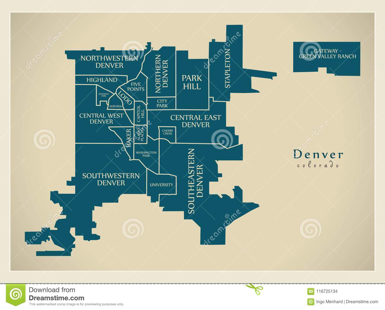 Modern City Map Denver Colorado City Of The Usa With Neighborhoods