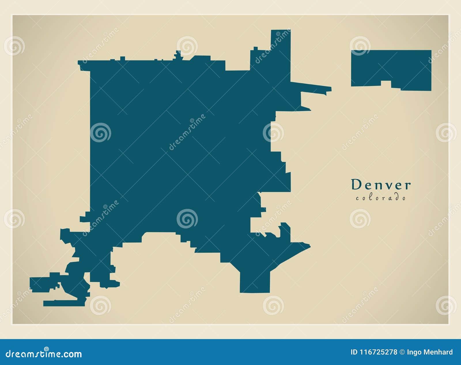 Modern City Map Denver Colorado City Of The Usa Stock Vector