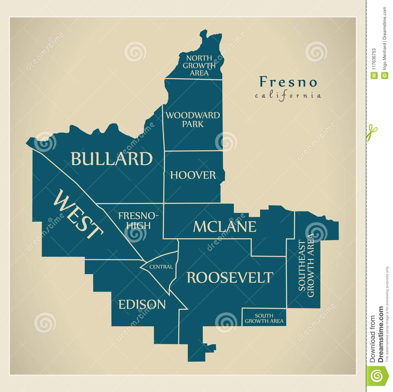 modern city map fresno california city of the usa with neighbo
