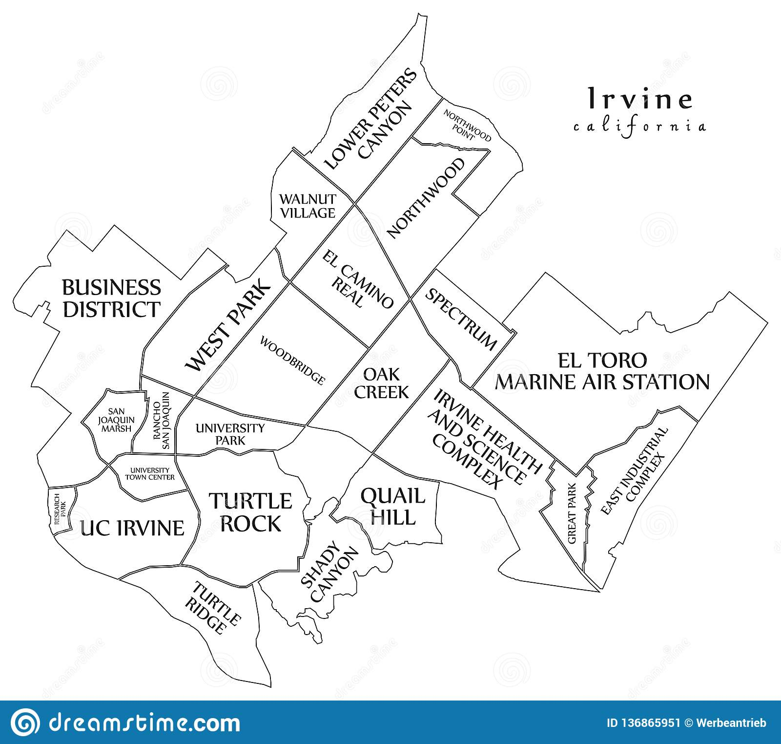 Modern City Map - Irvine California City Of The USA With ... on