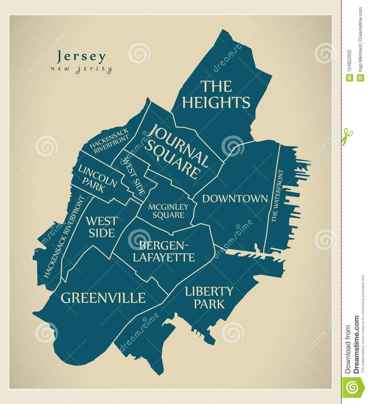 modern city map jersey new jersey city of the usa with neighbo