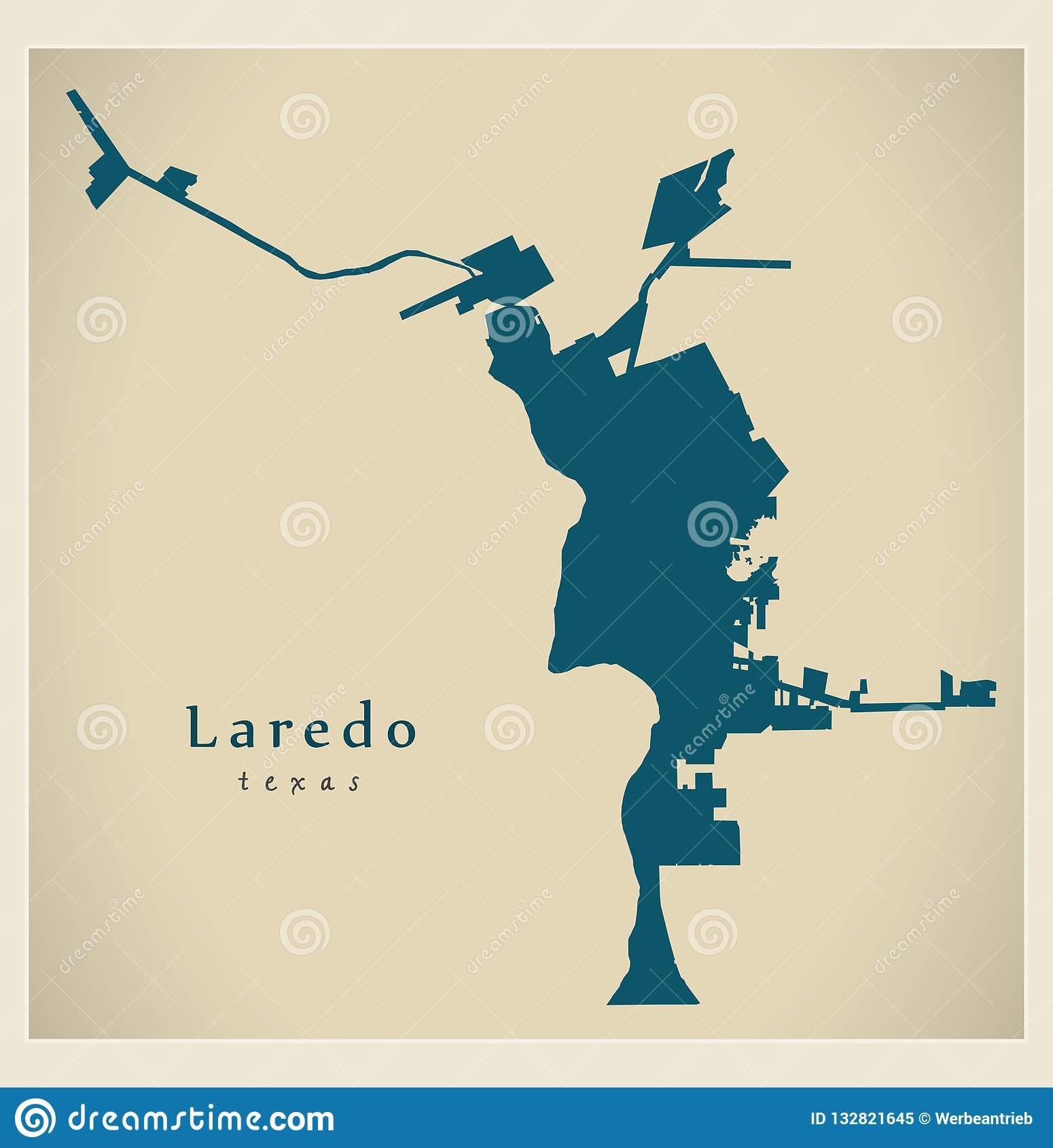 Map Of Texas Showing Laredo.Modern City Map Laredo Texas City Of The Usa Stock Vector