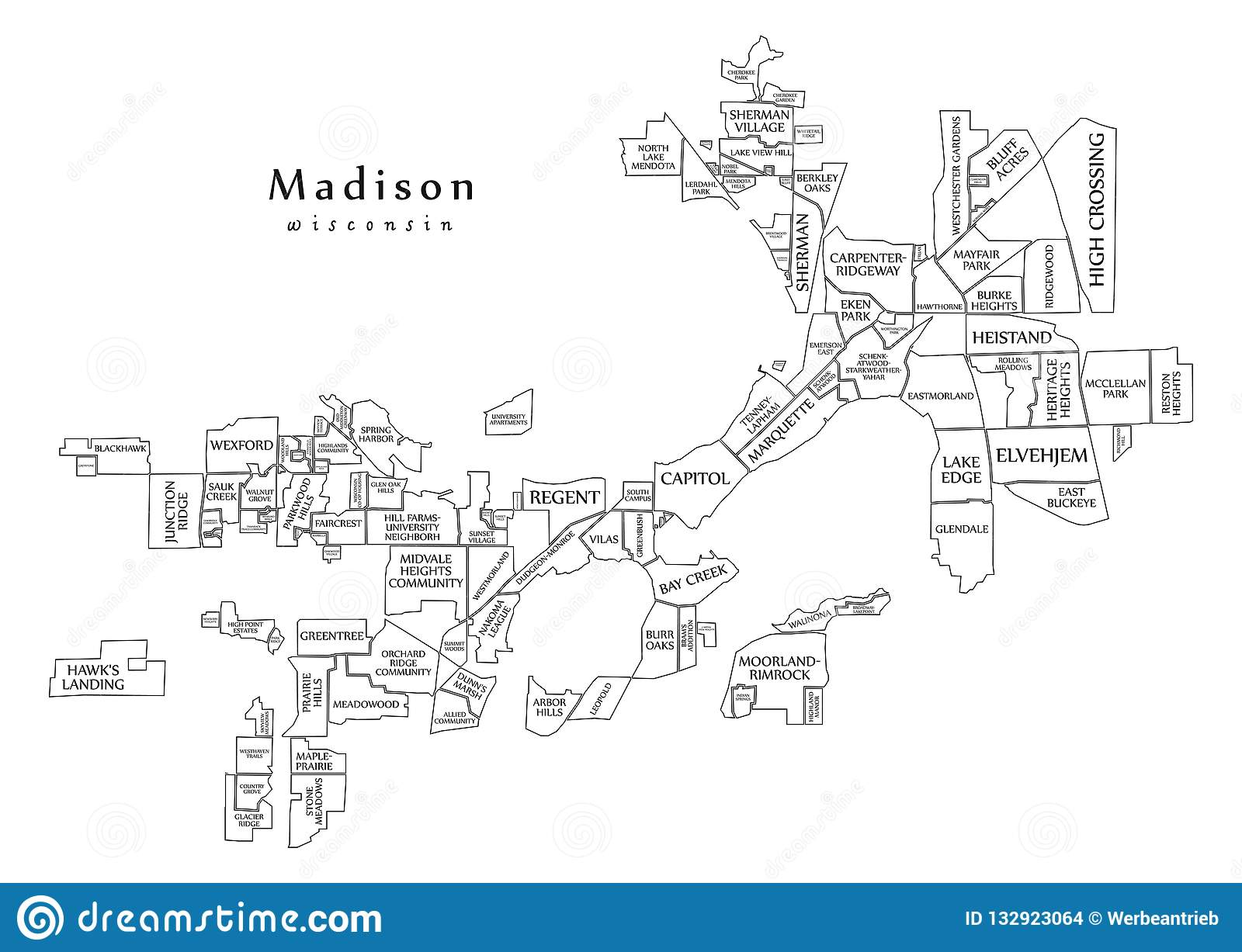 Modern City Map - Madison Wisconsin City Of The USA With ... on