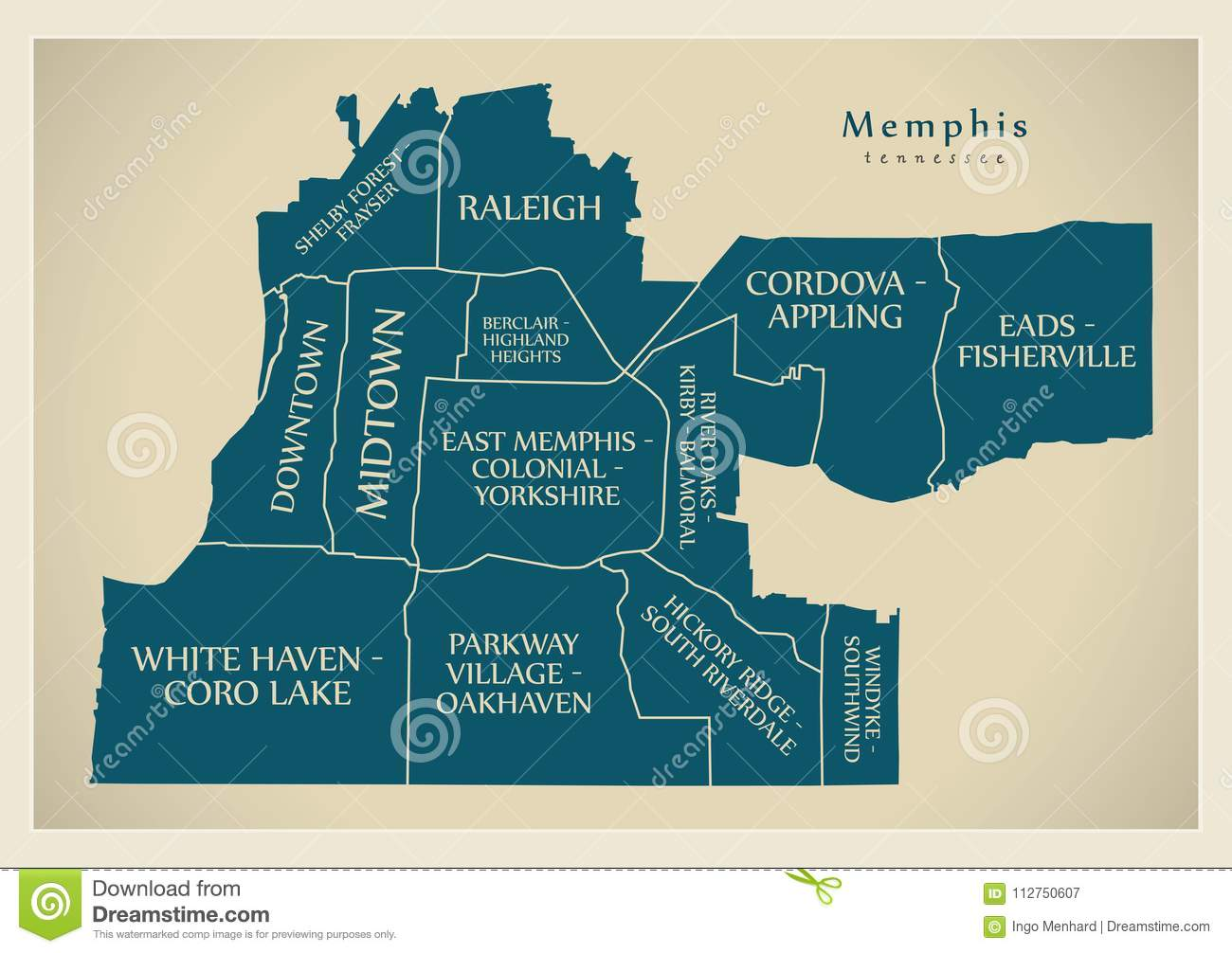 modern city map memphis tennessee city of the usa with neighbo