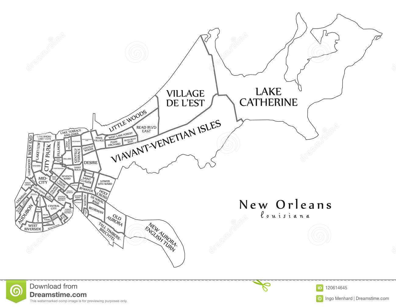 Modern City Map - New Orleans Louisiana City Of The USA With ... on