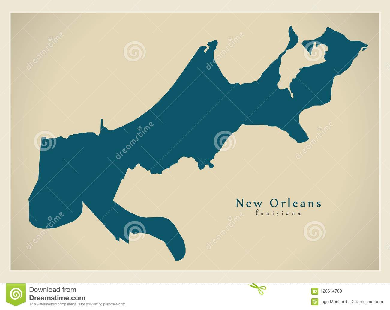 New Orleans In Usa Map.Modern City Map New Orleans Louisiana City Of The Usa Stock Vector