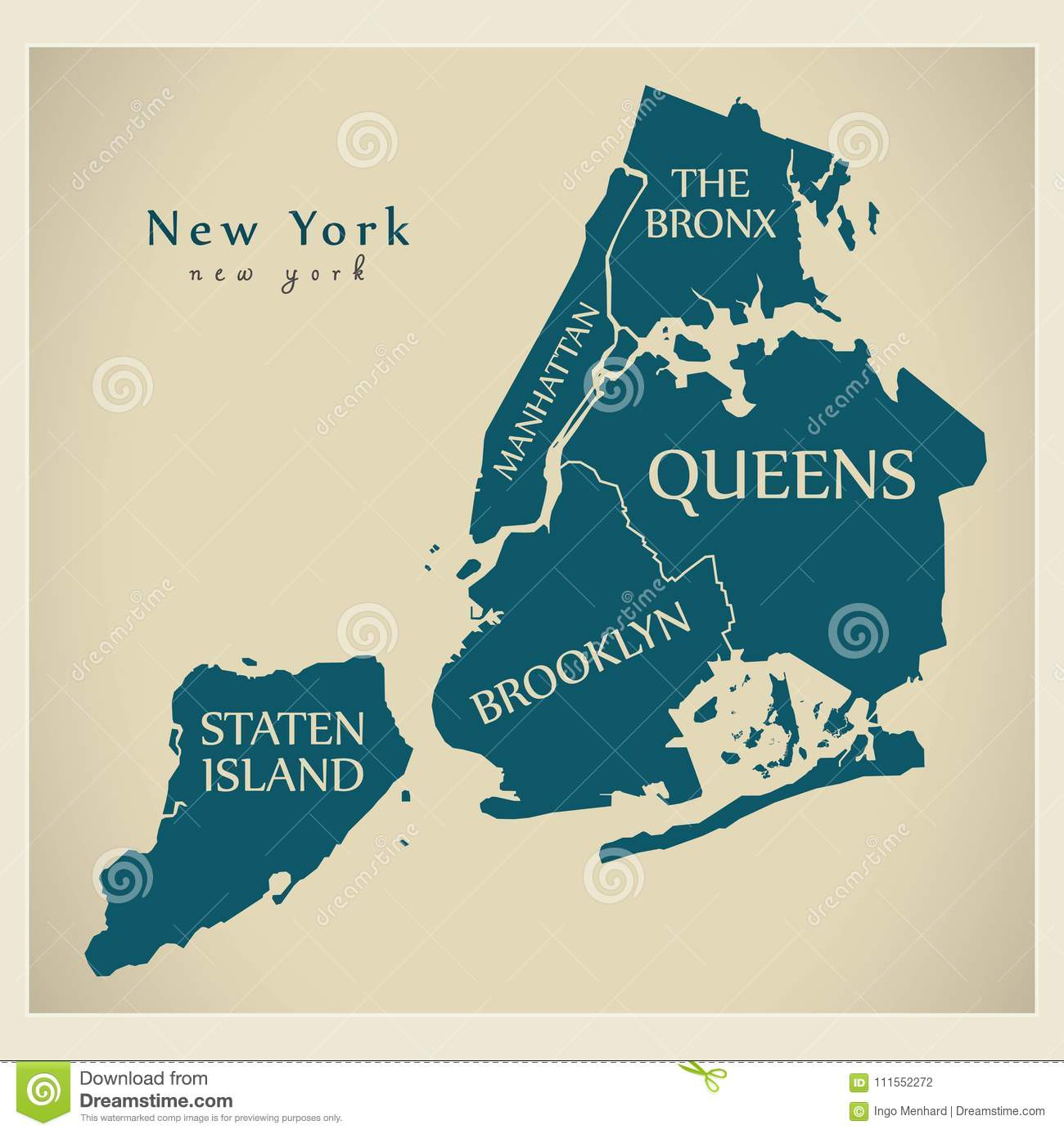 Modern City Map New York City The USA With Boroughs And Tit