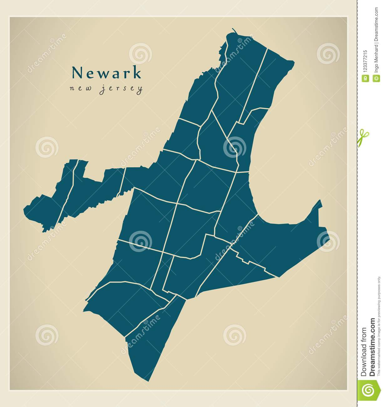 modern city map newark new jersey city of the usa with neighbo