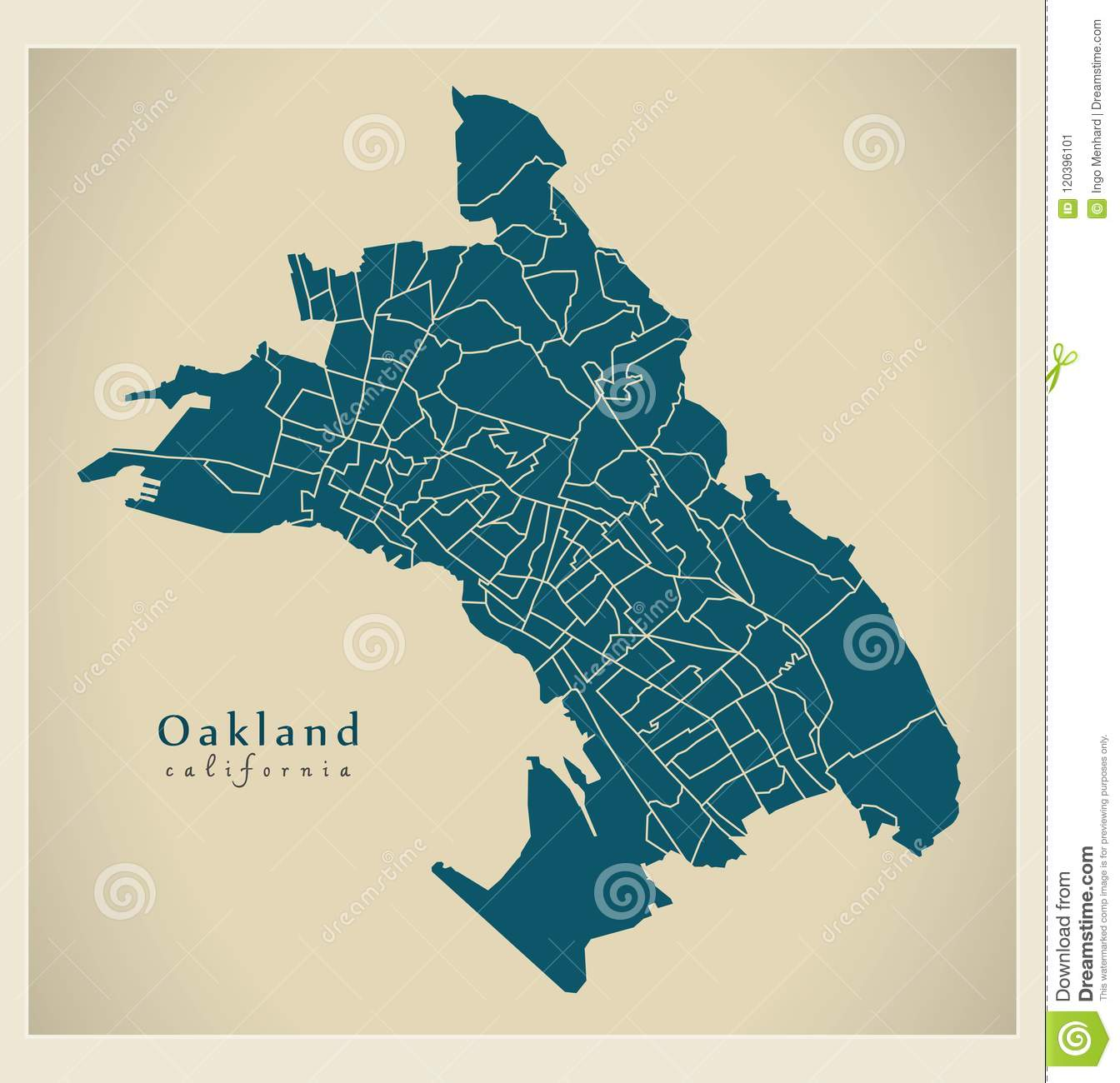 Modern City Map - Oakland California City Of The USA With 131 Ne ...