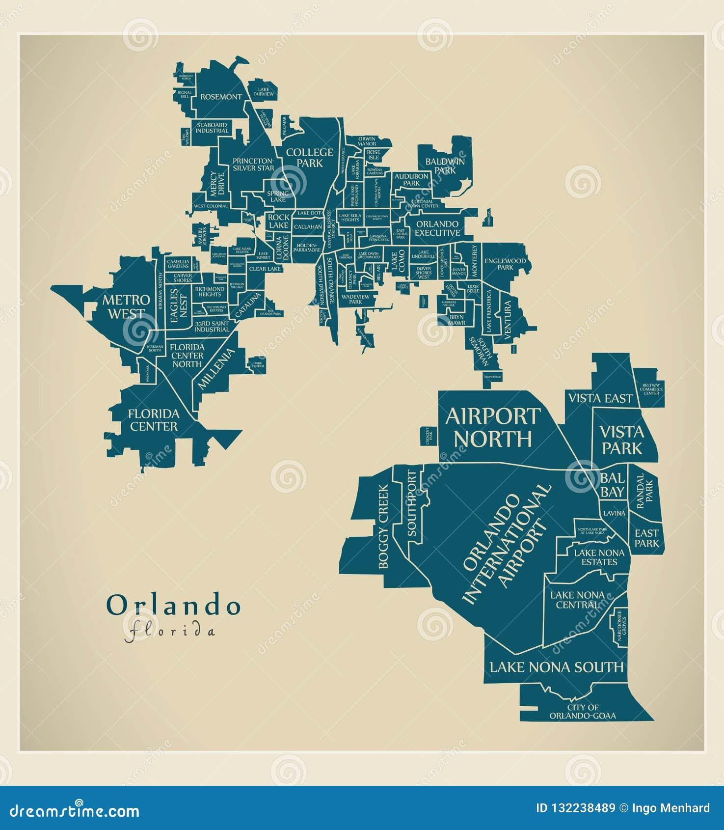 Map Florida City Names.Modern City Map Orlando Florida City Of The Usa With Neighborh