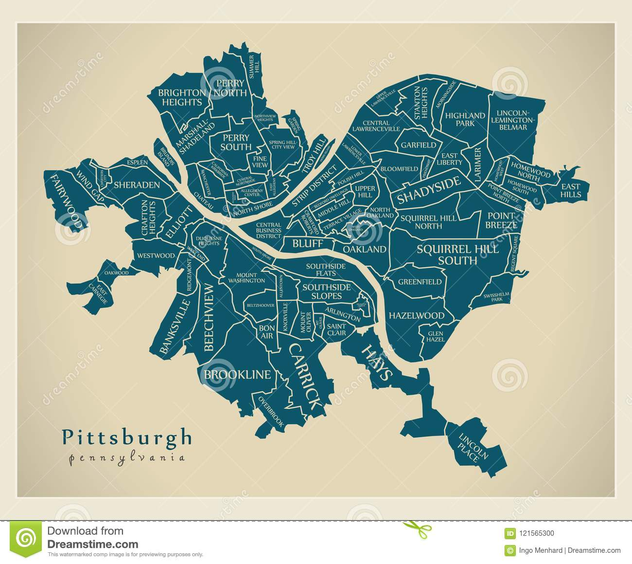 Pittsburgh On Map Of Usa.Modern City Map Pittsburgh Pennsylvania City Of The Usa With N