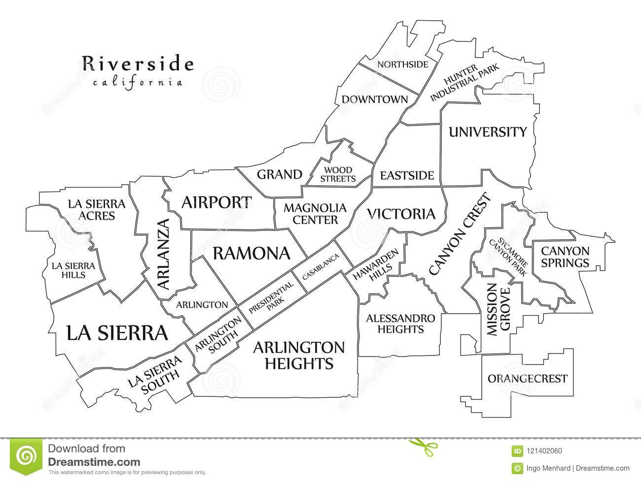 Modern City Map - Riverside California City Of The USA With ...