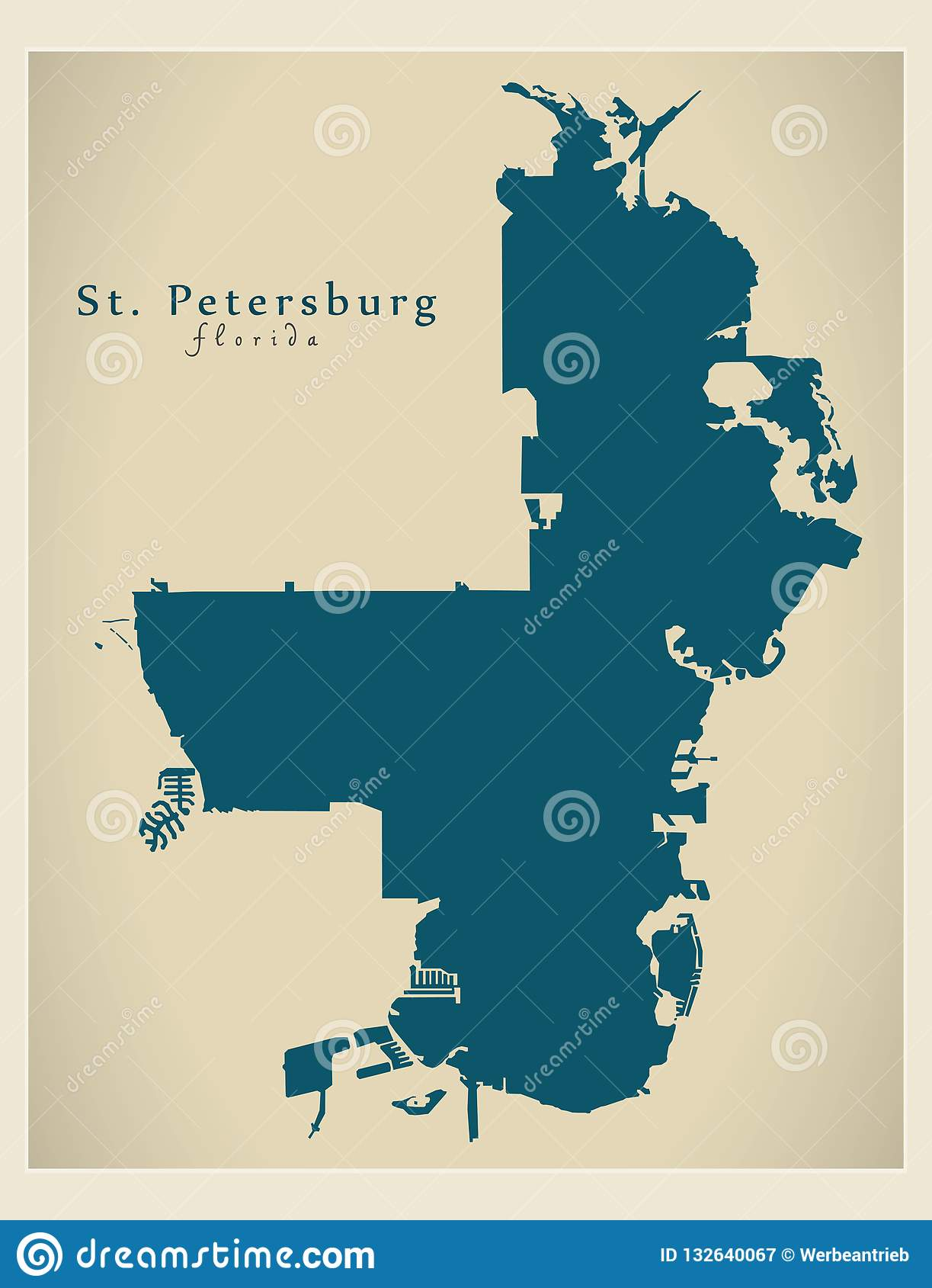 Florida City Map.Modern City Map St Petersburg Florida City Of The Usa Stock