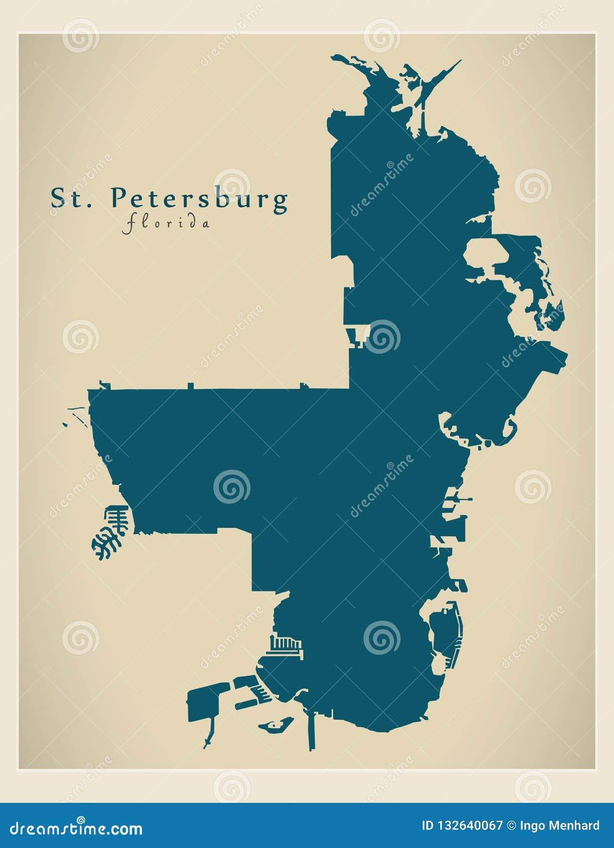 Map Of St Petersburg Florida.Modern City Map St Petersburg Florida City Of The Usa Stock