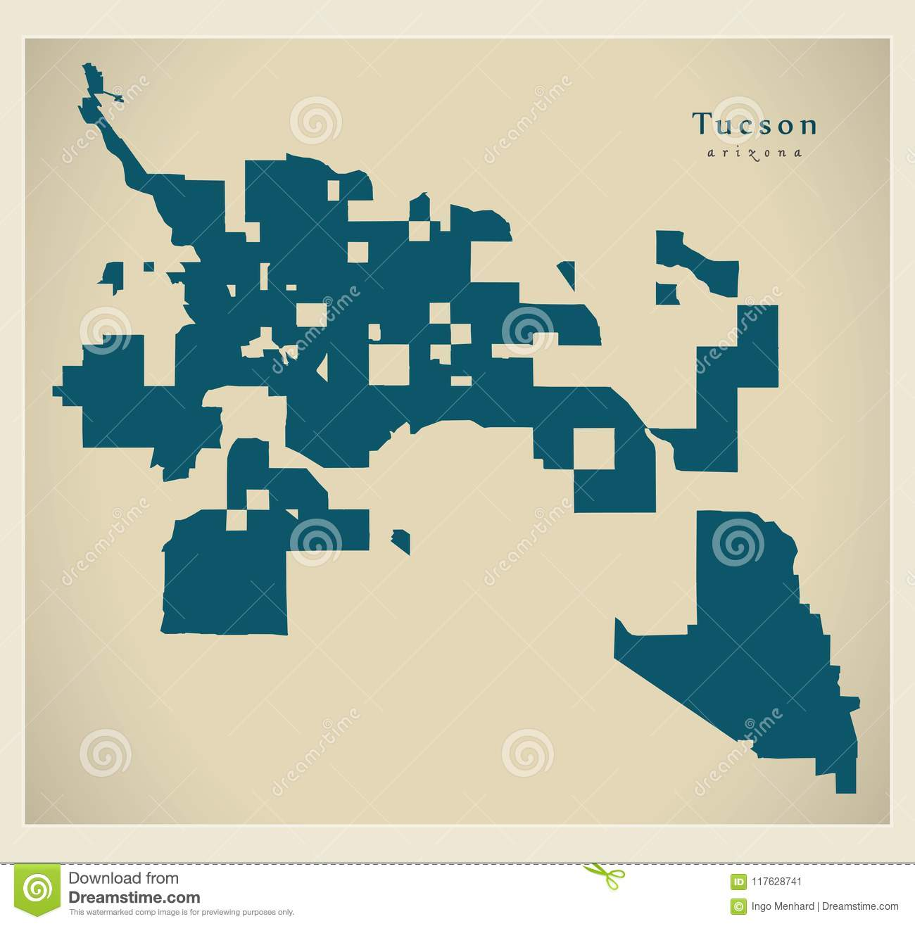 Modern City Map - Tucson Arizona City Of The USA Stock Vector ...