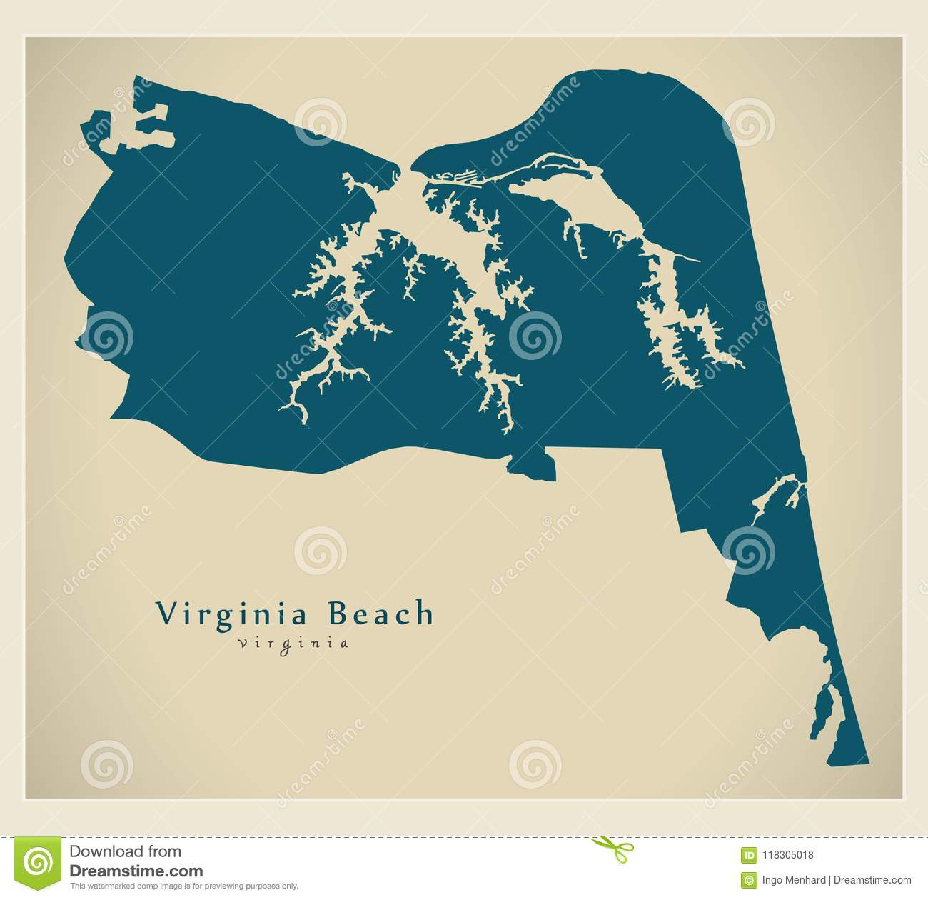 Modern City Map Virginia Beach Va City Of The Usa Stock Vector