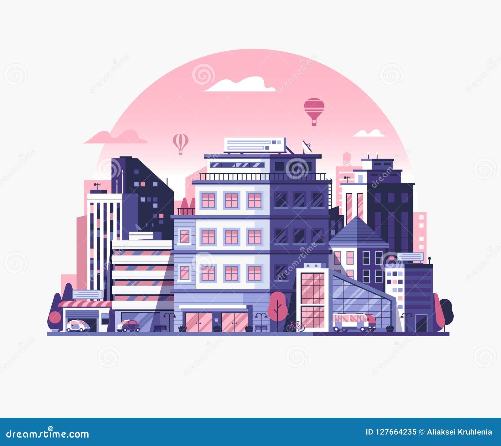 Modern City Metropolis Flat Illustration Stock Vector Illustration