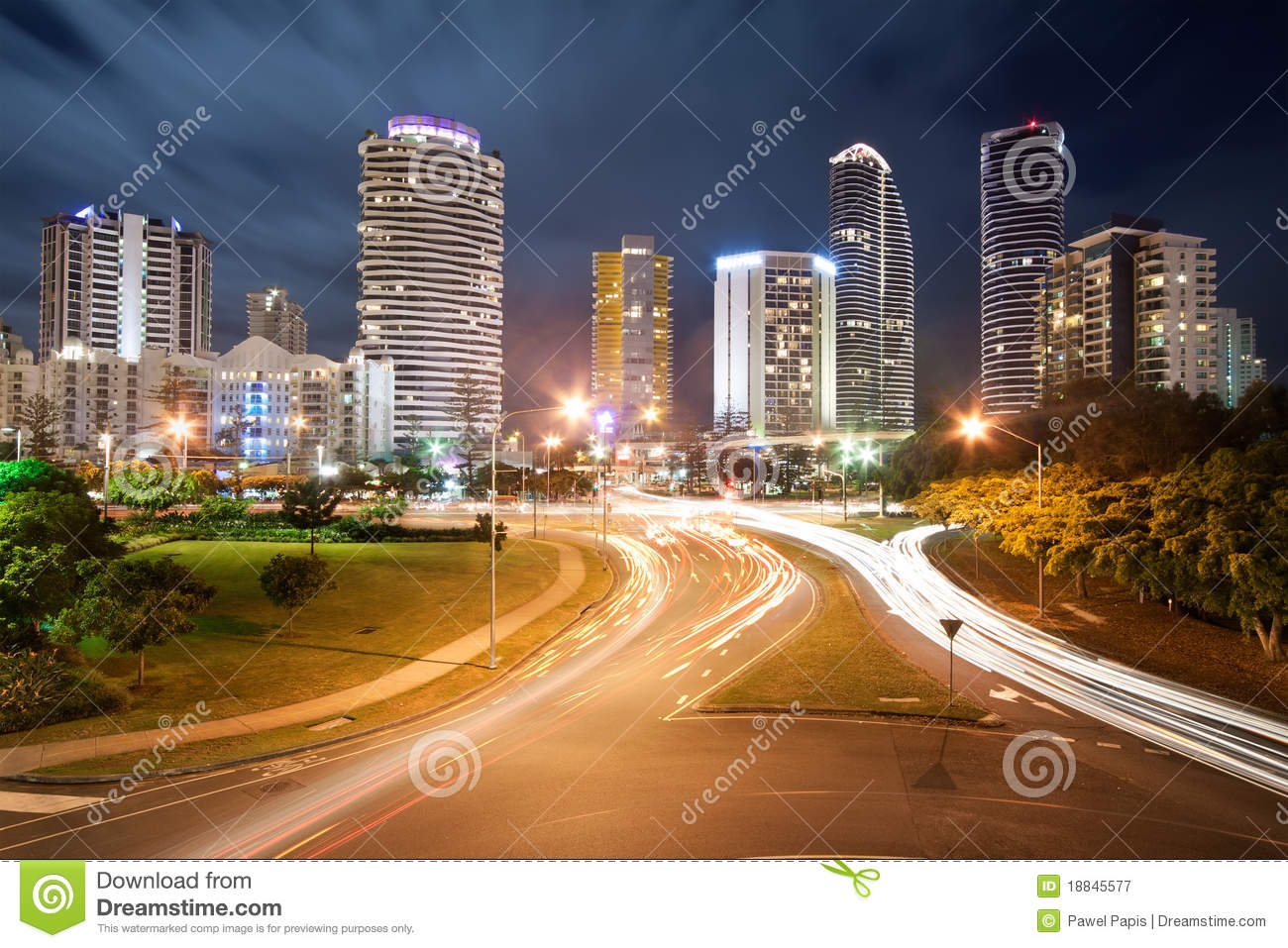 Modern City At Night With Street Lights Royalty Free Stock Photography ...