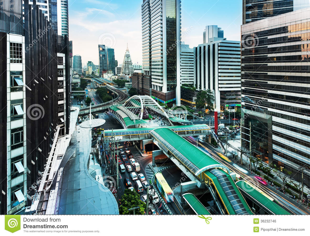 Modern City Sathon Road Bangkok Thailand Stock Photo