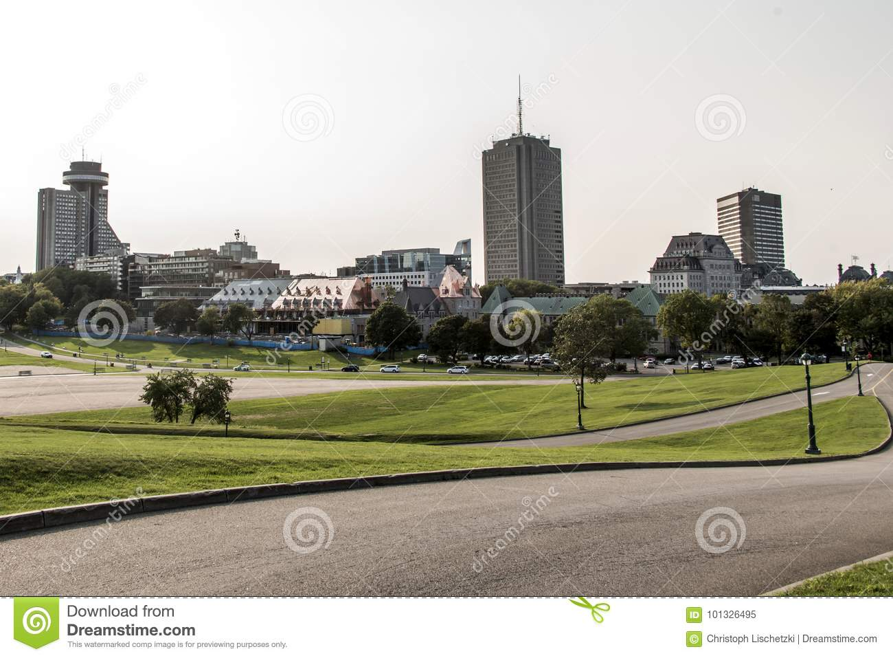 ad0215011 Modern City Skyline view from Parc des Champs-de-Bataille National  Battlefields Park Quebec City Canada