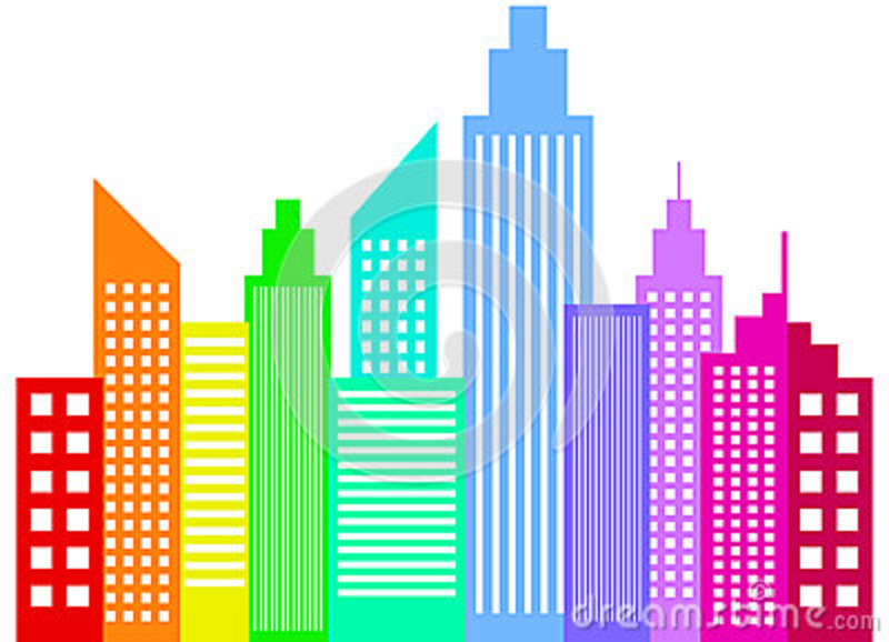 Rainbow Colored Modern City Skyscrapers Buildings Silhouettes Vector ...