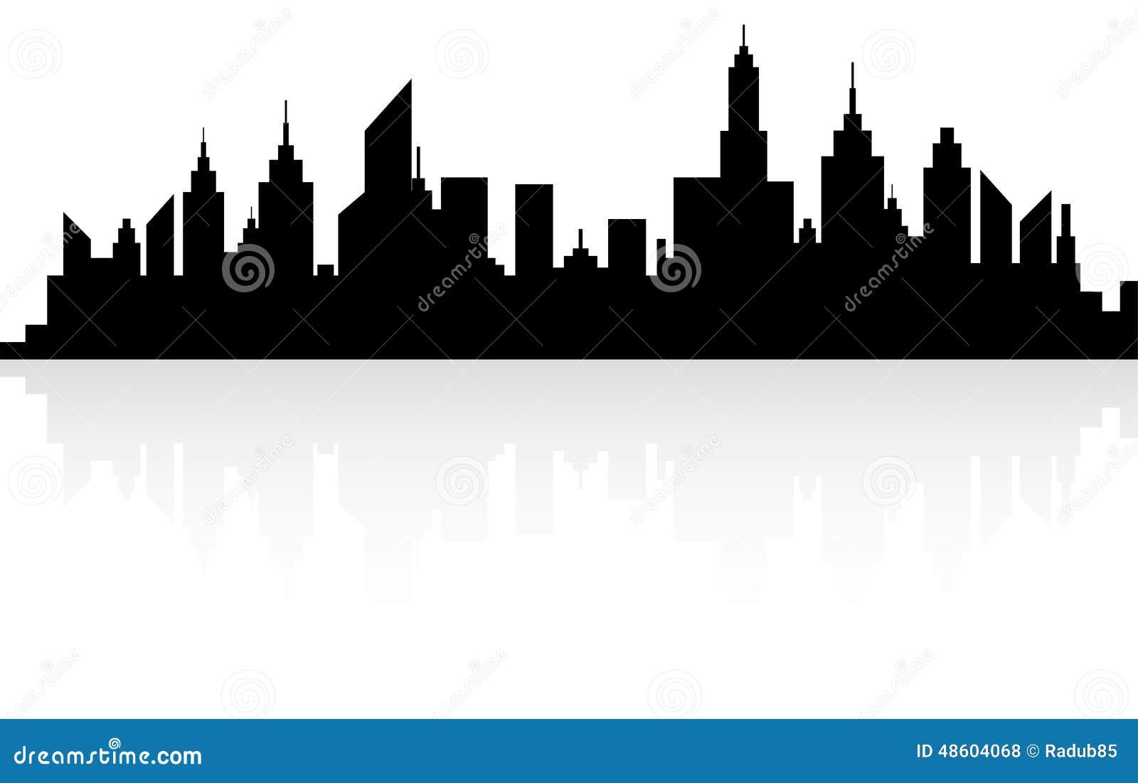 Modern City Skyscrapers Skyline Silhouette Stock Vector
