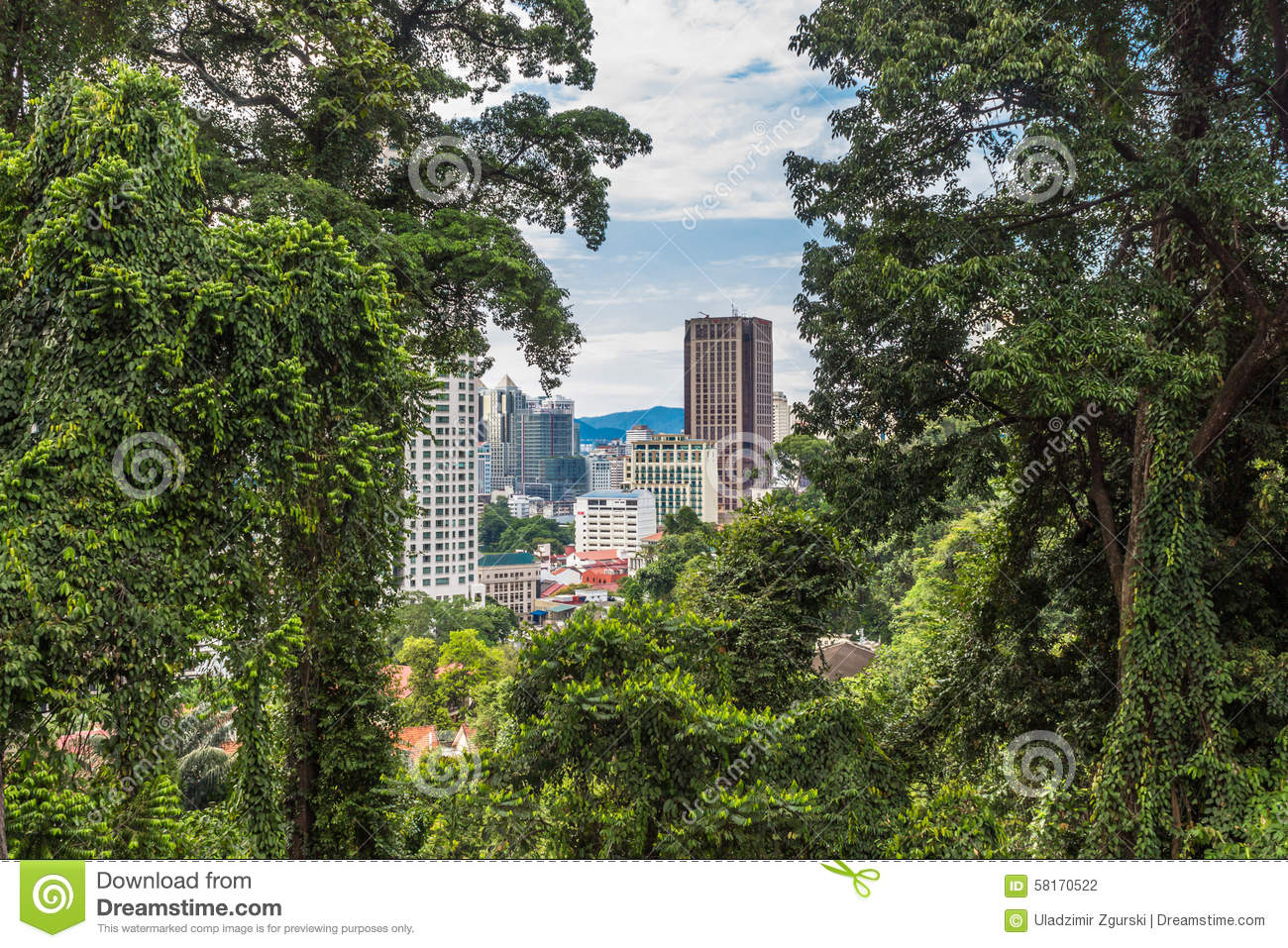 A modern city surrounded by jungle kuala lumpur stock photography