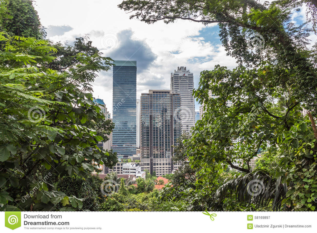 A modern city surrounded by jungle royalty free stock photography