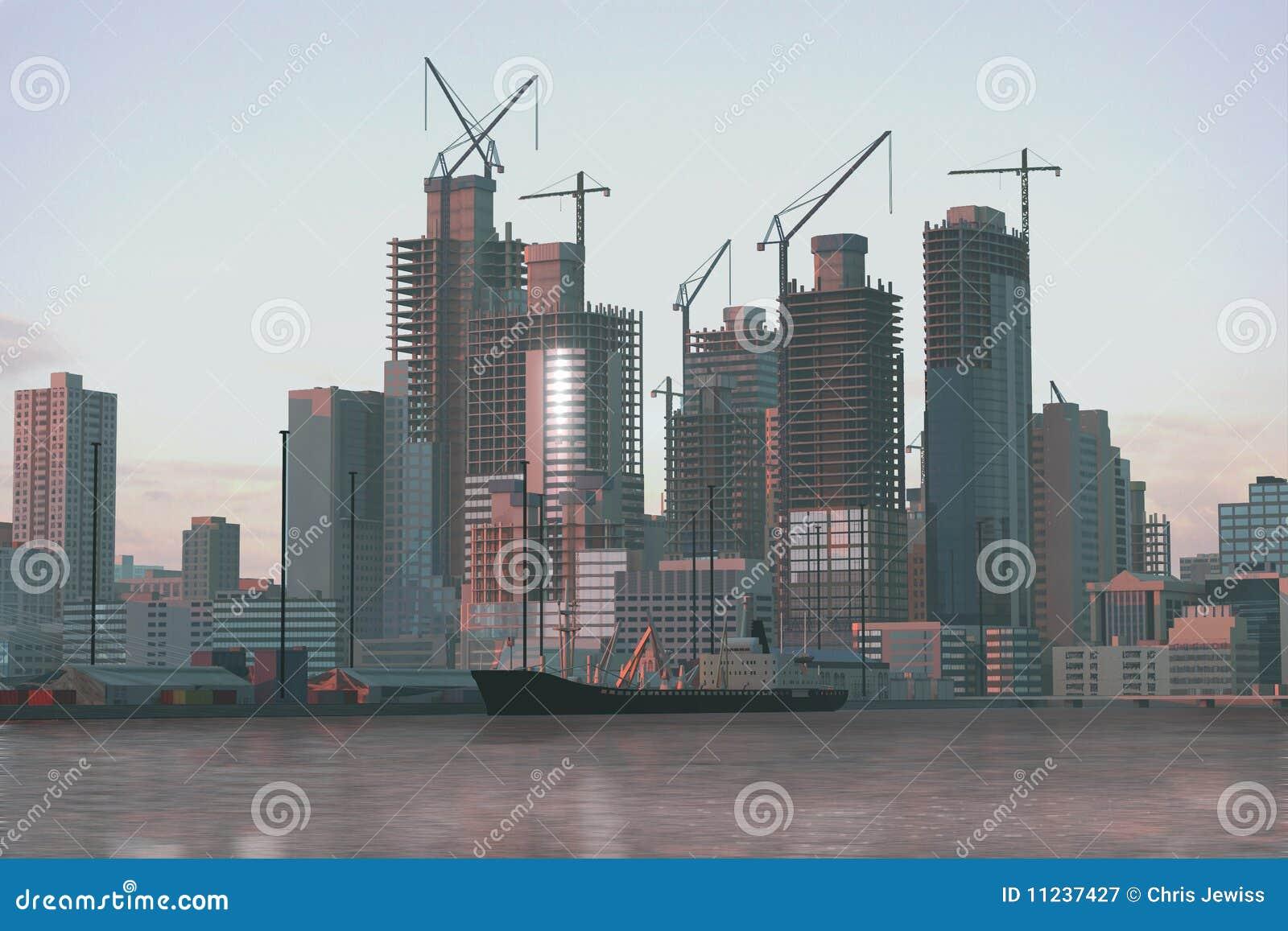 Modern City Under Construction Stock Illustration ... |City Under Construction