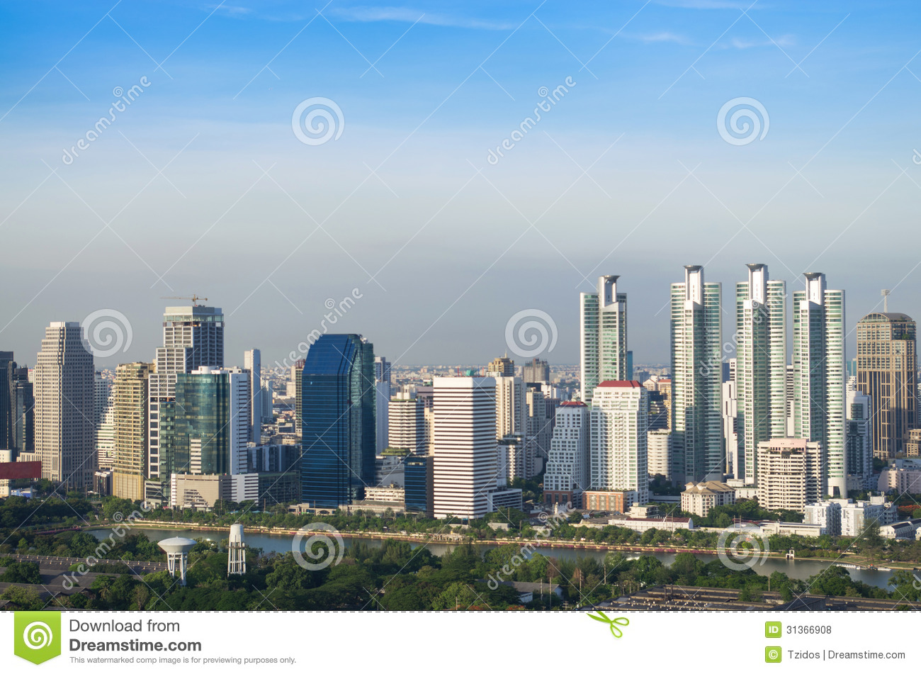 Modern City View Of Bangkok With Blue Sly Background
