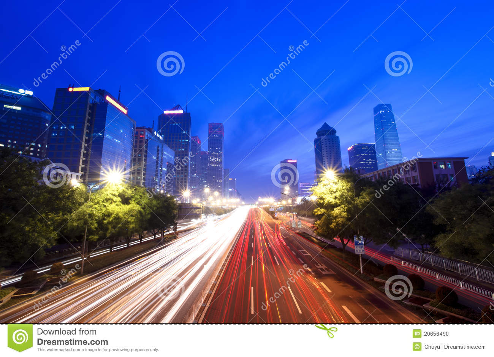 Modern cityscape in beijing at dusk