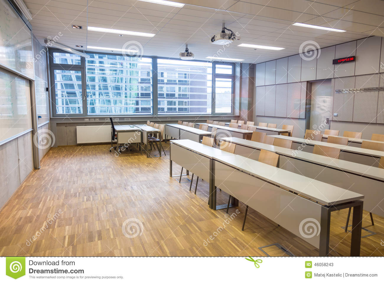 Modern University Classroom ~ Modern class room stock image of furniture