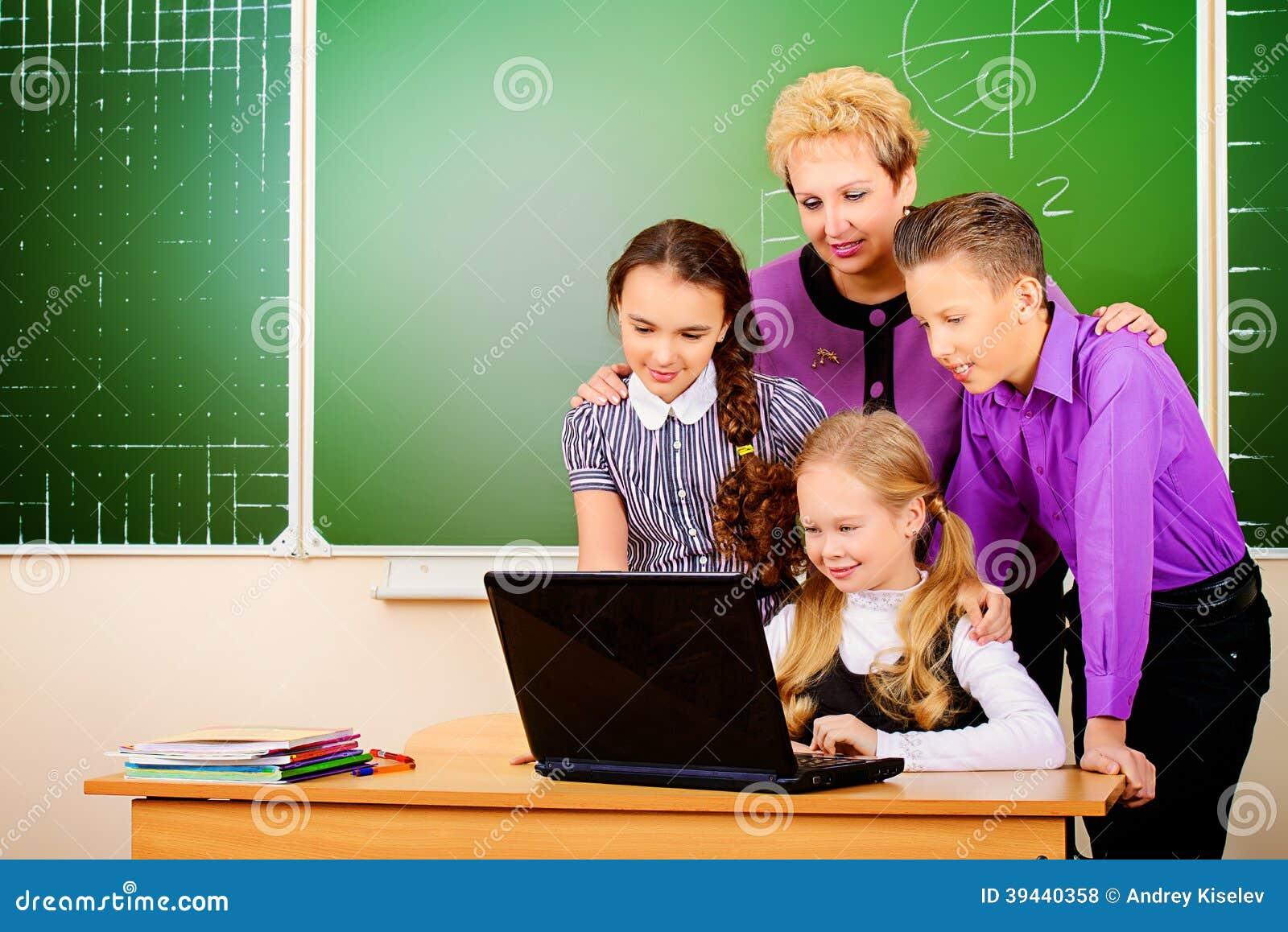 Modern Classroom Teacher ~ Modern class stock photo image