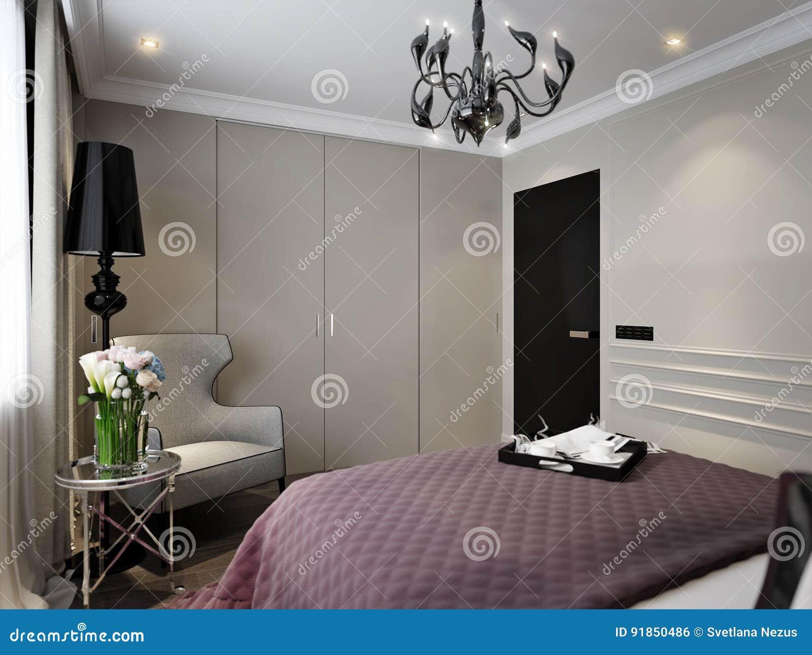 Modern Classic Art Deco Bedroom Interior Design Stock