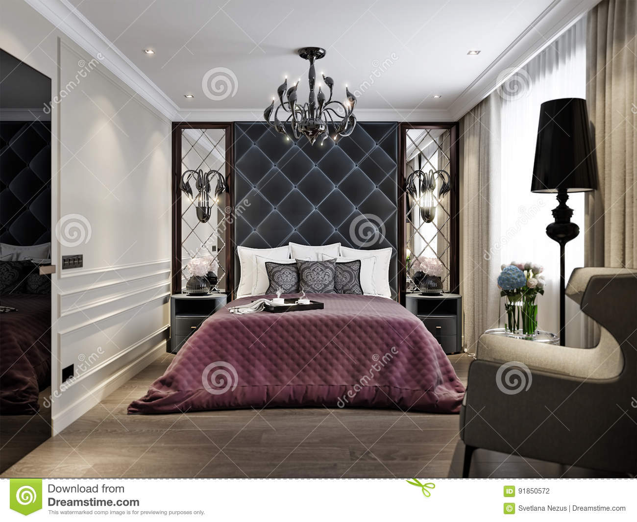 Modern Classic Art Deco Bedroom Interior Design Stock