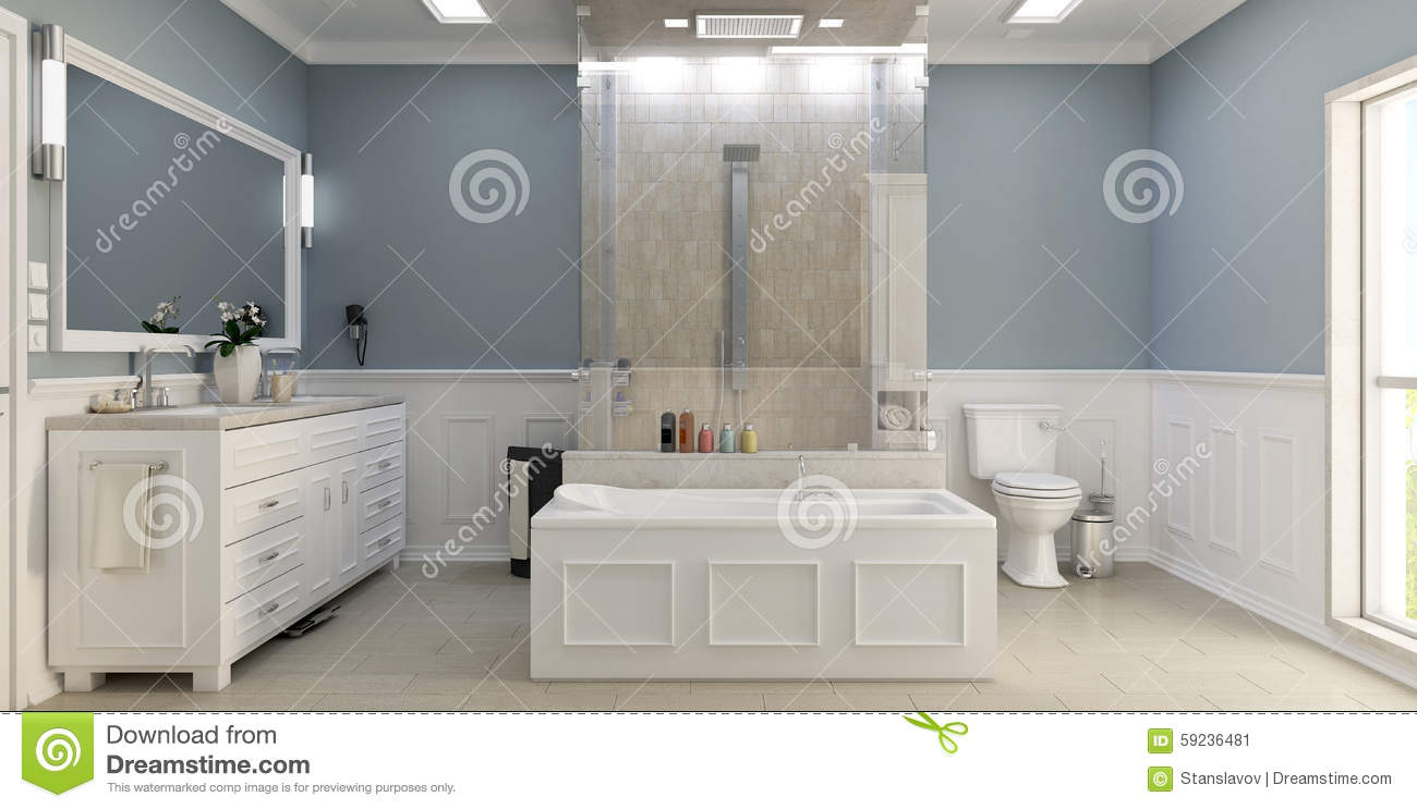 Modern Classic Bathroom With Wc Stock Photo  Image 59236481 -> Banheiro Vintage Moderno