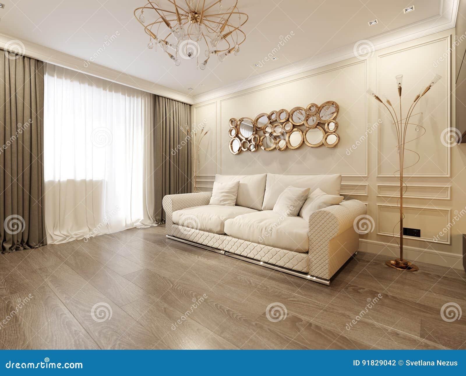 Modern Classic Beige Living Room Interior Design Stock Illustration ...