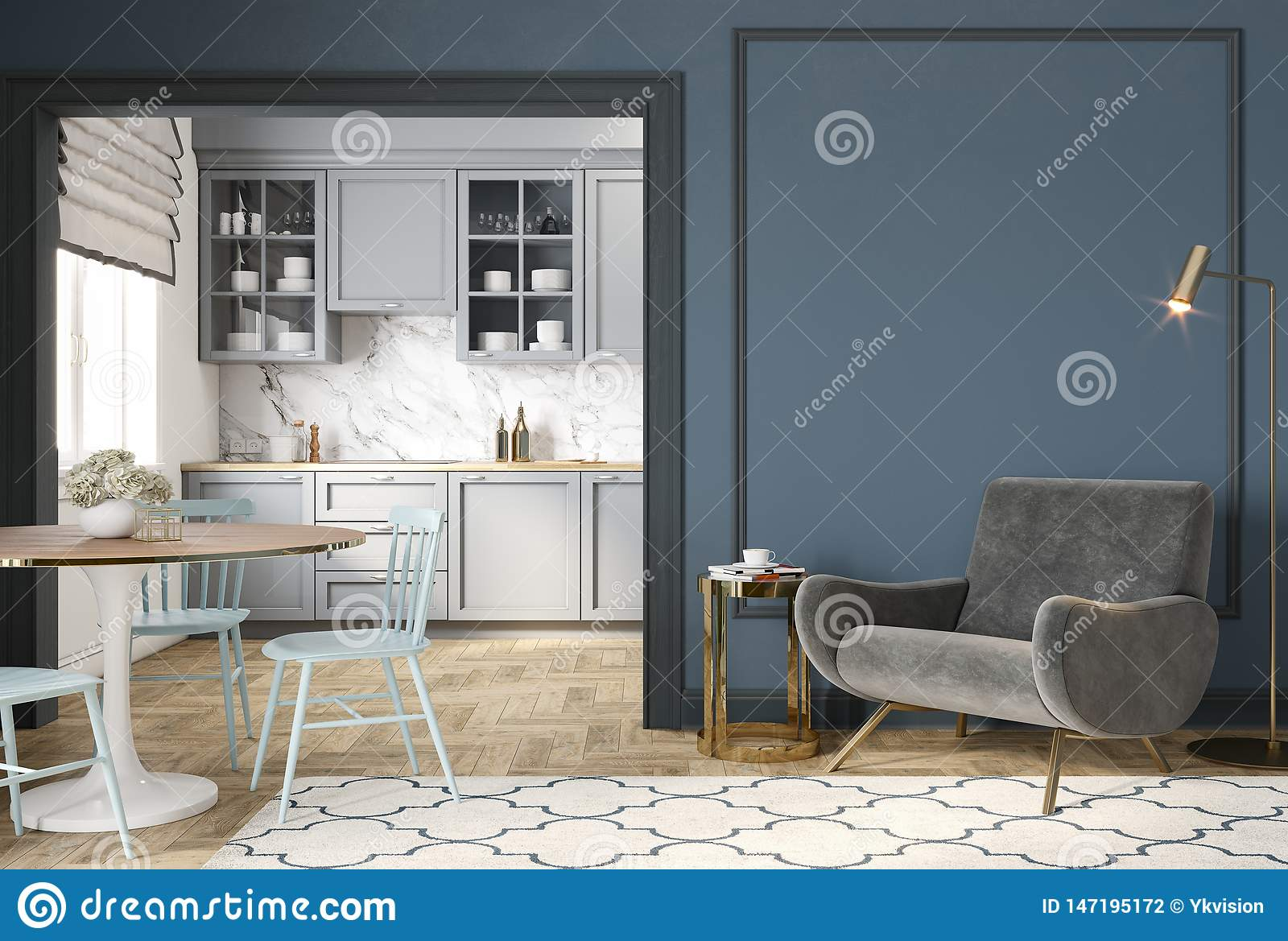 Modern Classic Blue Gray Interior With Lounge Chair Armchair Kitchen Dining Table Carpet Floor Lamp And Mouldings Stock Photo Image Of Apartment Lounge 147195172