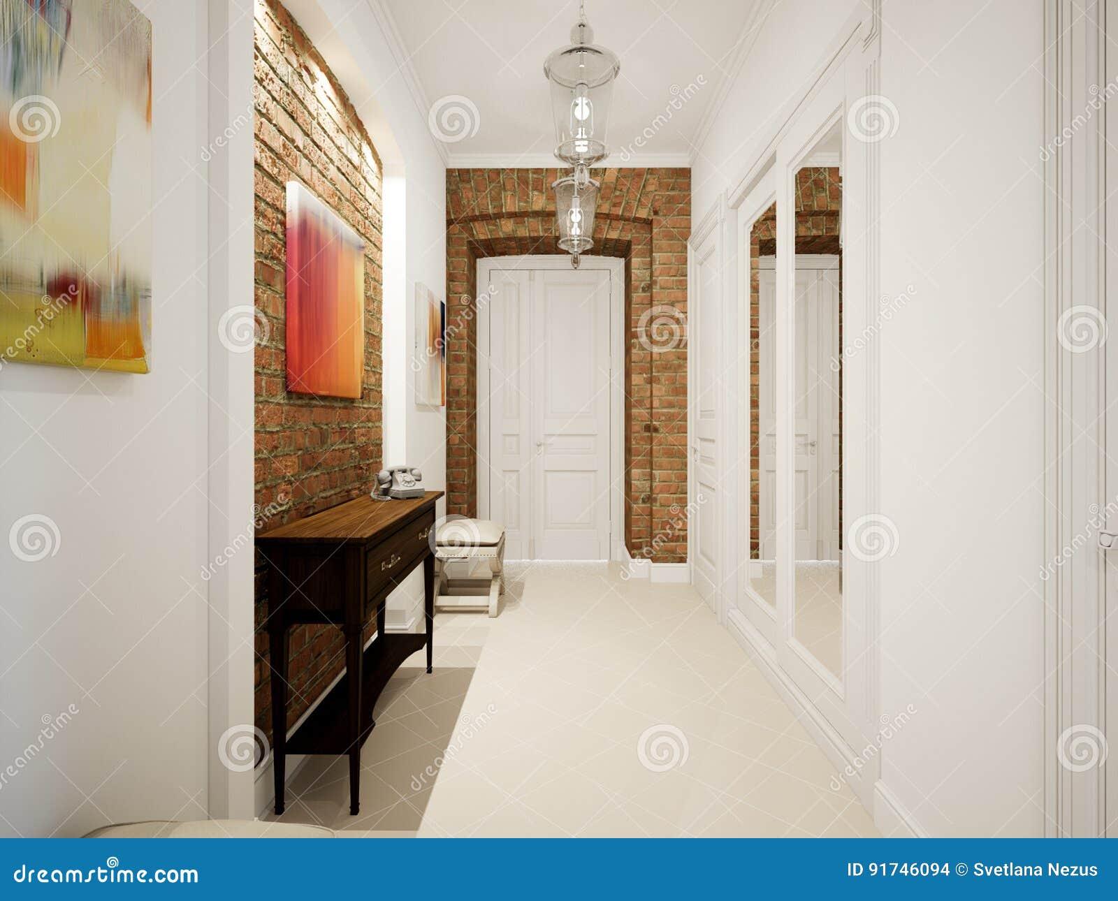 Modern Classic Hall Hallway Corridor In Old Vintage Apartment Stock Illustration Illustration Of Clean Door 91746094