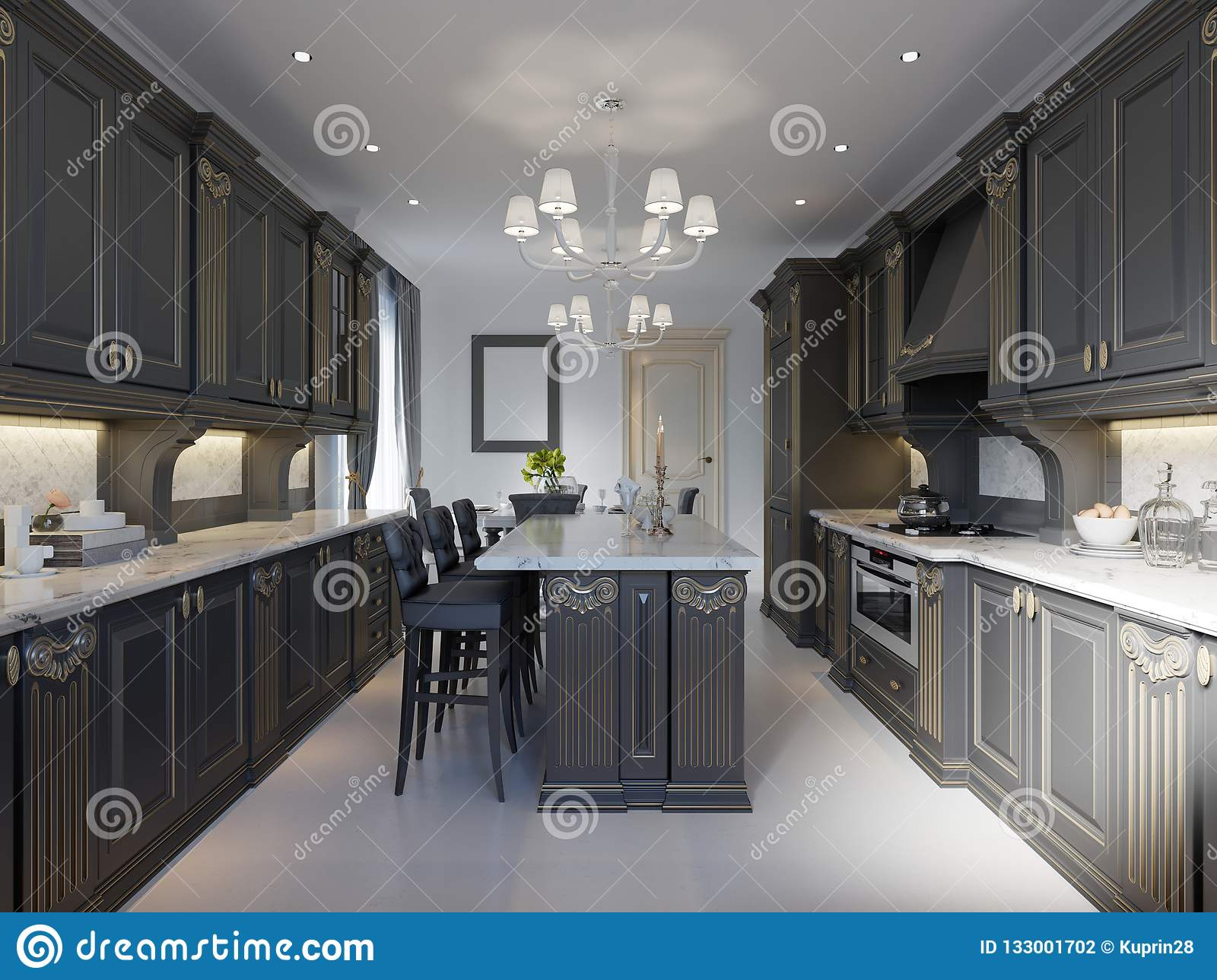 Modern Classic Kitchen Design With Black Cabinets And White Marble Worktop And Floor Stock Illustration Illustration Of Floor Kitchen 133001702