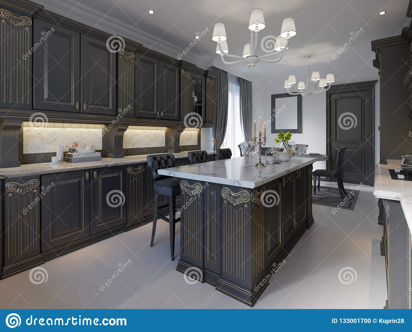 Modern Classic Kitchen Design With Black Cabinets And White Marble