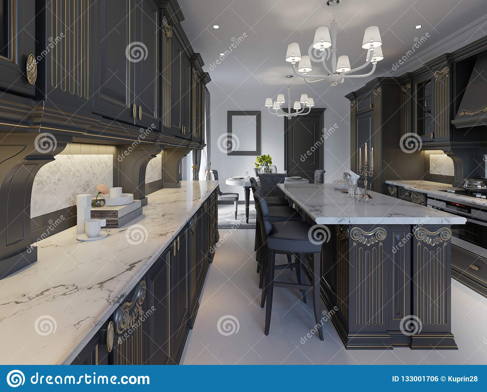 Modern Classic Kitchen Design With Black Cabinets And White Marble Worktop And Floor Stock Illustration Illustration Of Light Contemporary 133001706