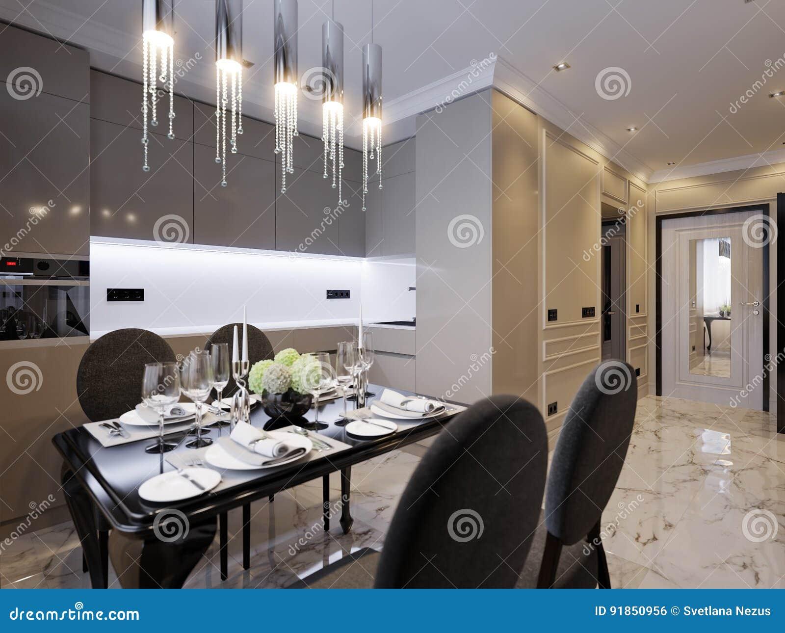 Modern Classic Kitchen Interior Design Stock Illustration