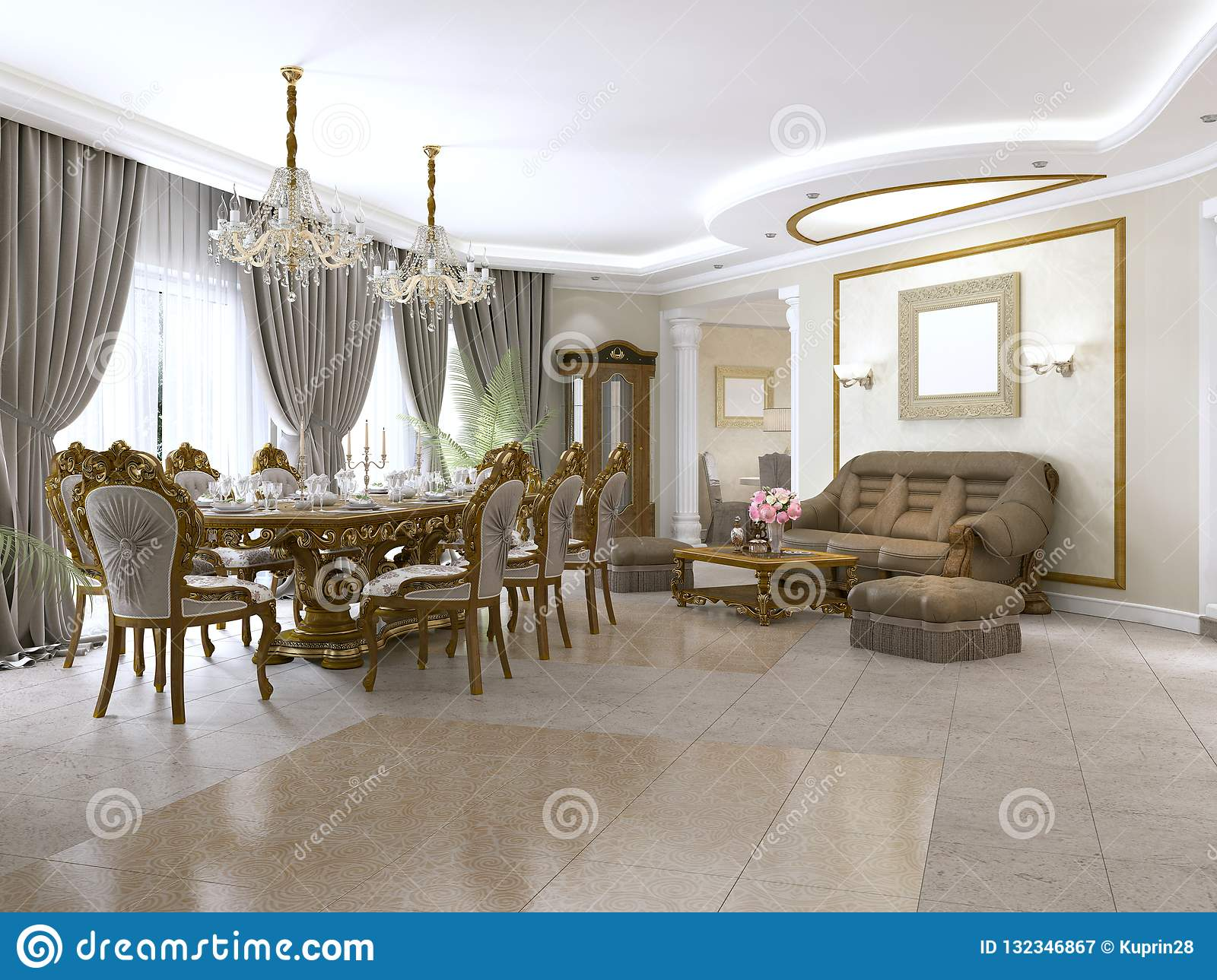 A Modern Classic Living Room In An Art Deco Style With A Dining Table And Views Of The Kitchen And The Foyer Stock Illustration Illustration Of House Interior 132346867